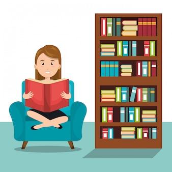 Mujer leyendo icono de libro de texto r