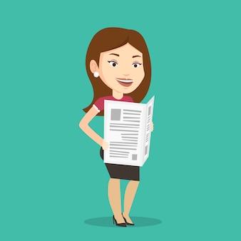 Mujer leyendo ilustración de periódico.