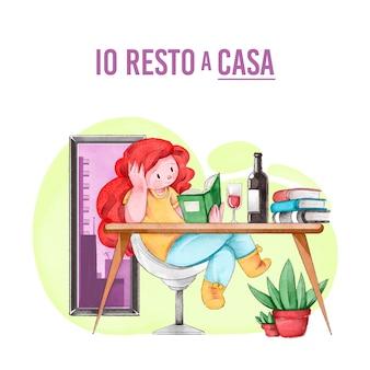Mujer leyendo libro en casa