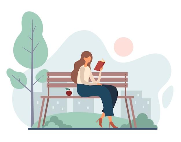 Mujer leyendo el libro en el parque. ilustración de dibujos animados