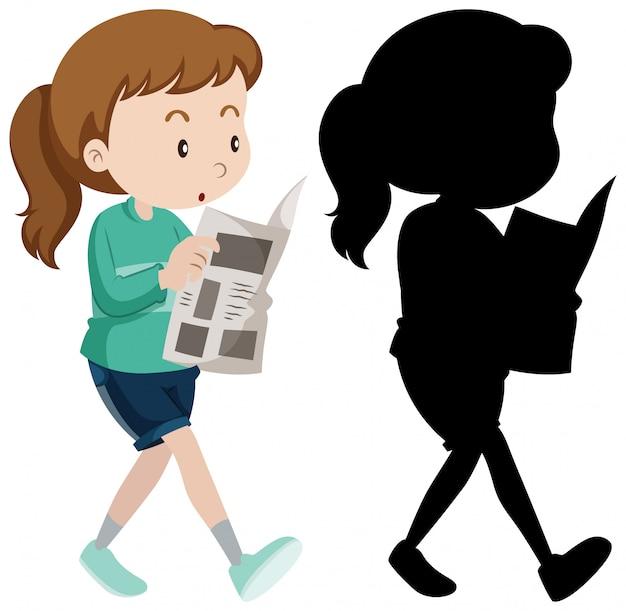 Mujer leyendo periódico en color y silueta