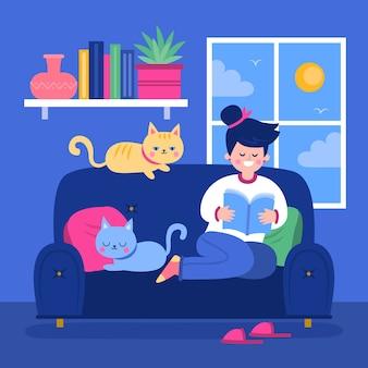 Mujer leyendo y teniendo gatos lindos