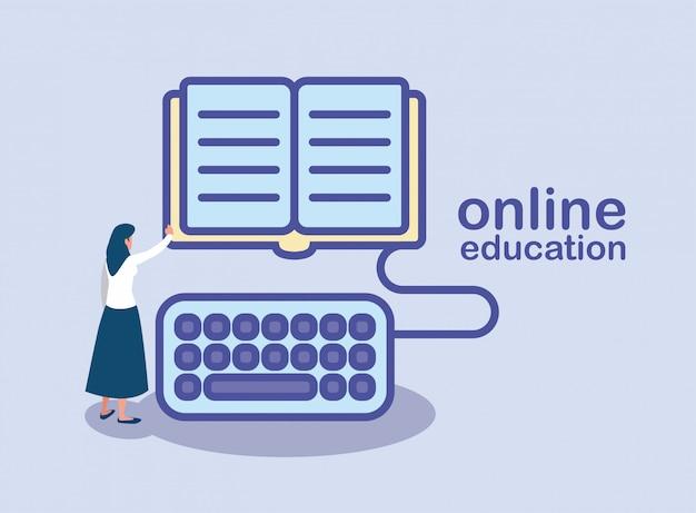 Mujer con libro de educación con teclado, educación en línea