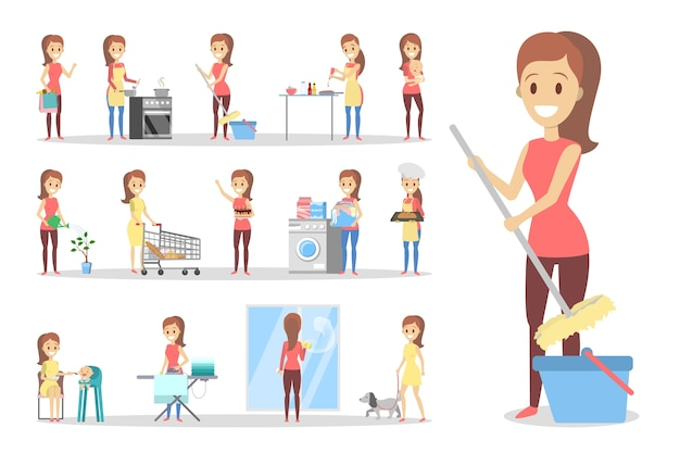 Mujer limpia casa y haciendo las tareas del hogar. ama de casa haciendo la rutina doméstica diaria. ilustración de vector plano aislado