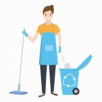 Mujer, limpieza, con, fregona
