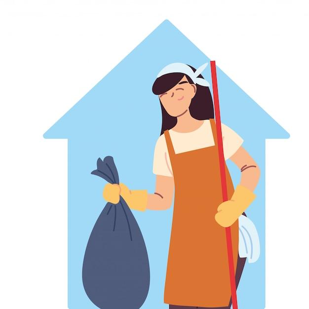 Mujer de limpieza haciendo trabajos de limpieza de la casa