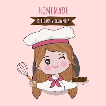 Mujer linda chef está cocinando personaje. ilustración dibujada a mano.