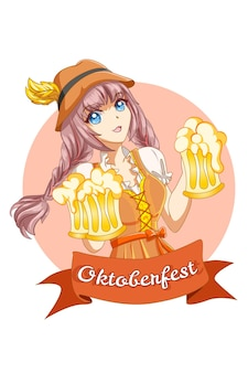 Mujer linda y feliz celebrando el oktoberfest con ilustración de dibujos animados de cerveza