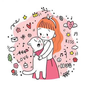 Mujer linda de la historieta que abraza el vector del gato blanco.