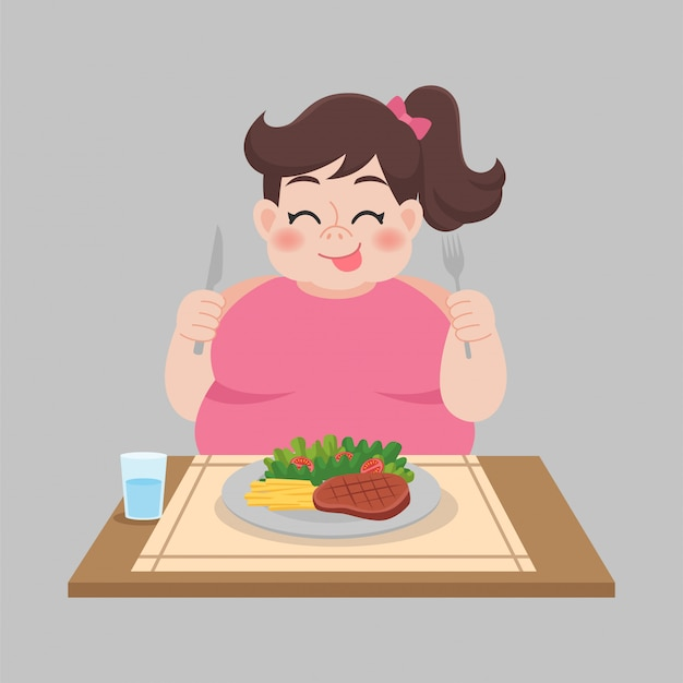 Mujer lista para comer alimentos, ensaladas, salchichas, vegetales