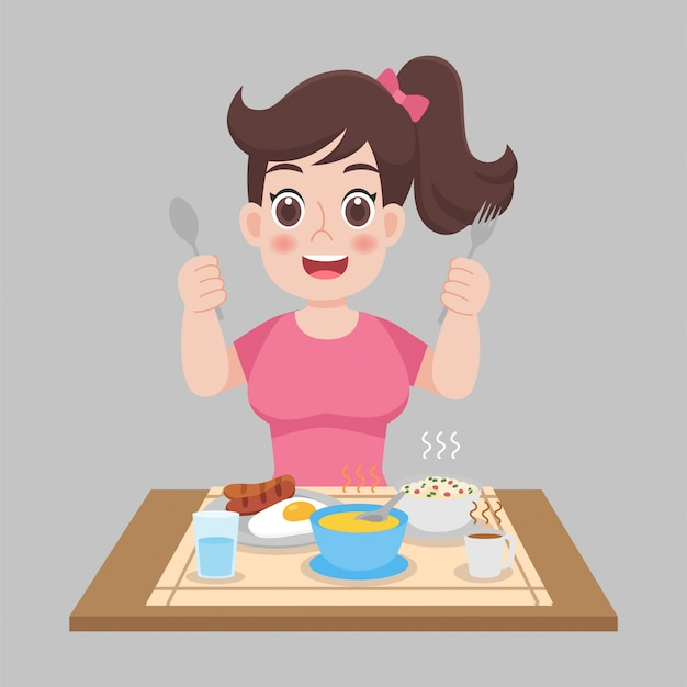 Mujer lista para comer comidas calientes, salchichas, huevo frito, sopa