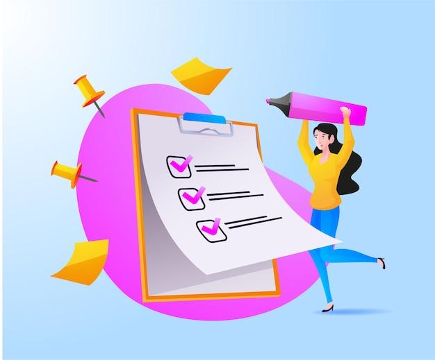 Una mujer lista de verificación completa en el portapapeles y el papeleo
