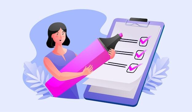 Mujer lista de verificación completa en el portapapeles y el papeleo