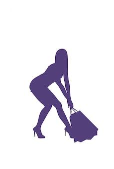 La mujer lleva muchos bolsos de compras aislados concepto femenino de las ventas de la silueta