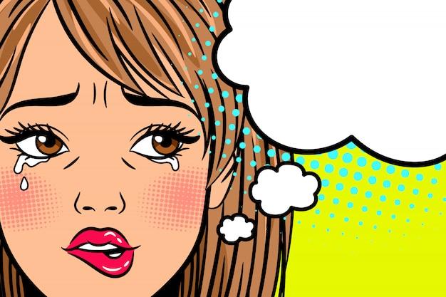 Mujer llorando de dibujos animados
