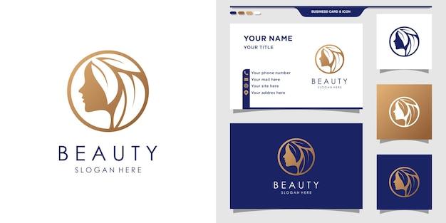 Mujer de logotipo de belleza con concepto único y diseño de tarjeta de visita.