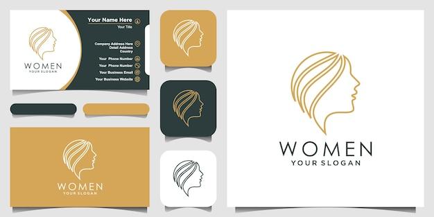 Mujer con logotipo de estilo de arte de línea y diseño de tarjeta de visita, logotipo de la cara de la cabeza aislado