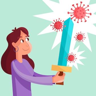 Mujer luchando contra el concepto de virus