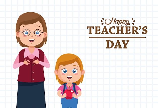 Mujer maestra con alumna levantando personajes de apple