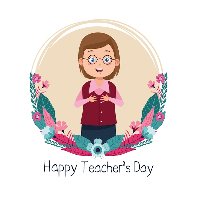 Mujer maestra con anteojos con marco circular de letras del día del maestro