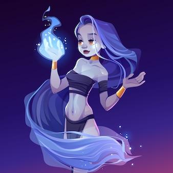Mujer mágica, ninfa mirando fuego de mago en mano
