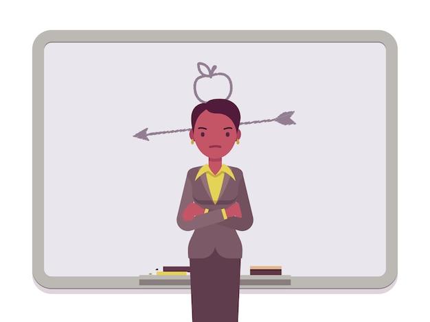 Mujer con manzana dibujada y flecha