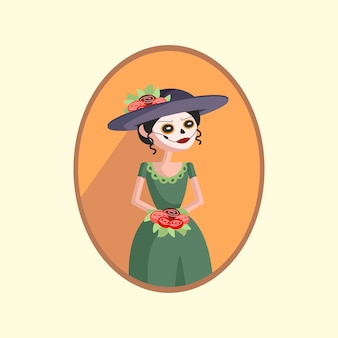 Mujer con maquillaje de calavera de azúcar