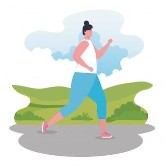 Mujer maratonista corriendo deportivo, femenino en la competencia de carrera o ilustración de la carrera de maratón