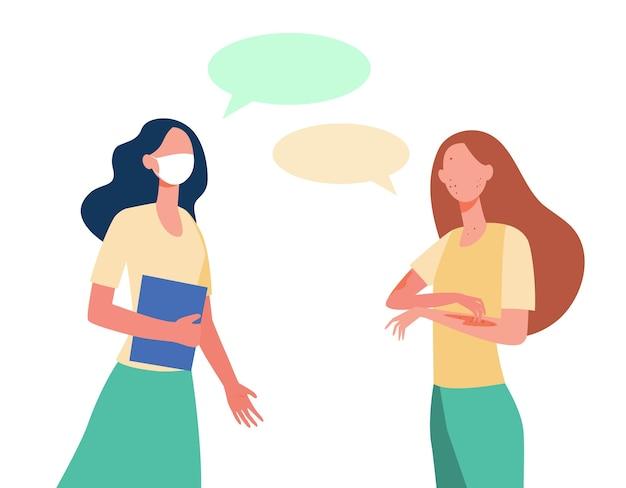 Mujer en máscara hablando con un amigo infectado de varicela. amigos, estudiantes, ilustración plana de burbujas de discurso.