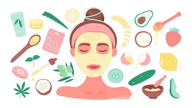 Mujer en máscara con productos de bricolaje para máscaras faciales