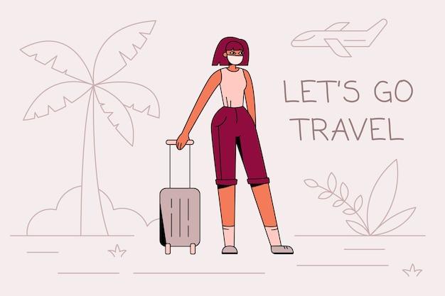 Mujer con máscara de seguridad con equipaje llamando para viajar de nuevo