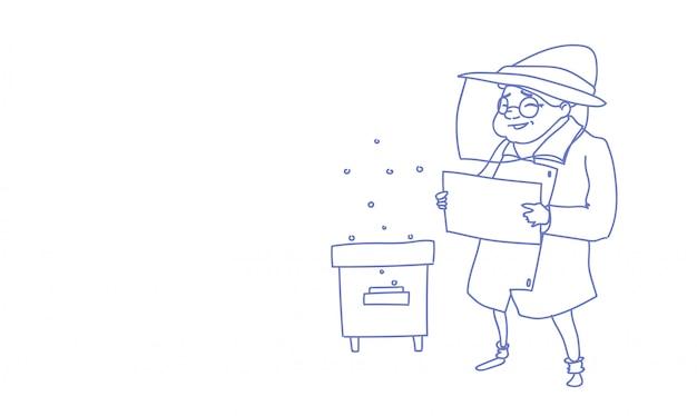 Mujer mayor agricultor recoger miel de colmena de abejas colmena granja boceto doodle ilustración vectorial