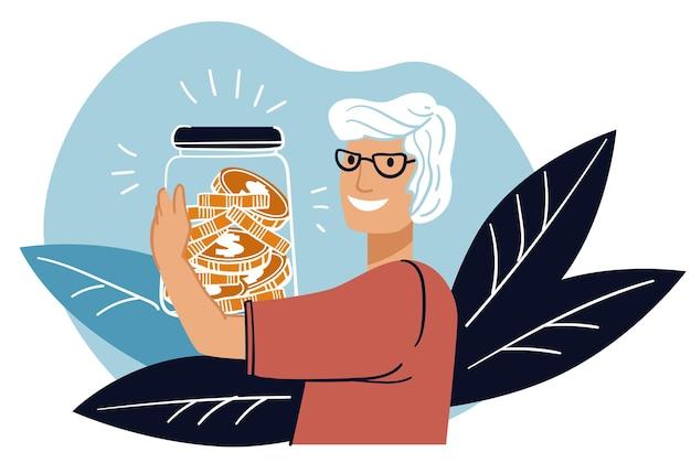 Mujer mayor ahorrando dinero para el vector de jubilación