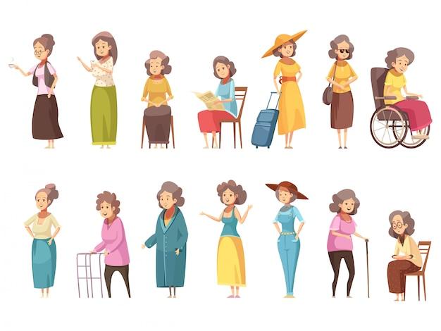 La mujer mayor deshabilita a los ciudadanos mayores con las banderas de los iconos 2 de dibujos animados retro de caña caminando establece ilustración vectorial aislado