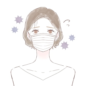 Mujer de mediana edad con resfriado, corona y gripe. sobre un fondo blanco.