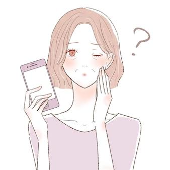 Una mujer de mediana edad con un teléfono inteligente que tiene dudas. sobre un fondo blanco.