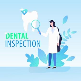 Mujer médico dentista con lupa inspección dental vector ilustración