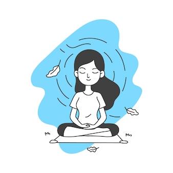 Mujer medita ilustración vectorial en estilo de dibujos animados de arte de línea simple y limpio