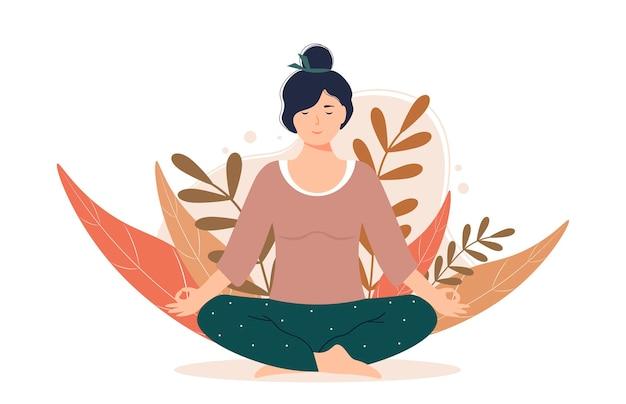 Mujer meditando en la naturaleza y hojas. personaje femenino está sentado en posición de loto.