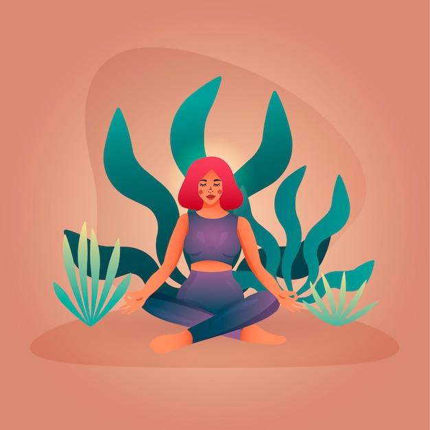 Mujer meditando en una posición de loto. concepto minimalista para clases de yoga y meditación.