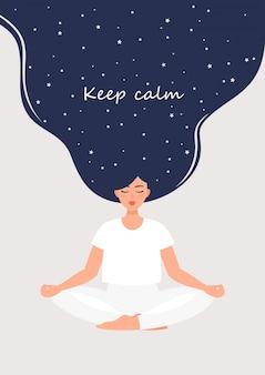 La mujer está meditando en posición de loto y el texto mantiene la calma