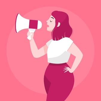 Mujer con megáfono gritando ilustración