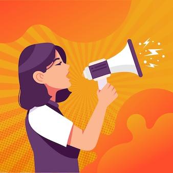 Mujer con megáfono gritando