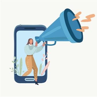 Mujer con megáfono hablando fuera de la pantalla