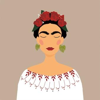 Mujer mexicana de dibujos animados con corona de flores en el pelo