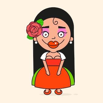 Mujer mexicana de dibujos animados