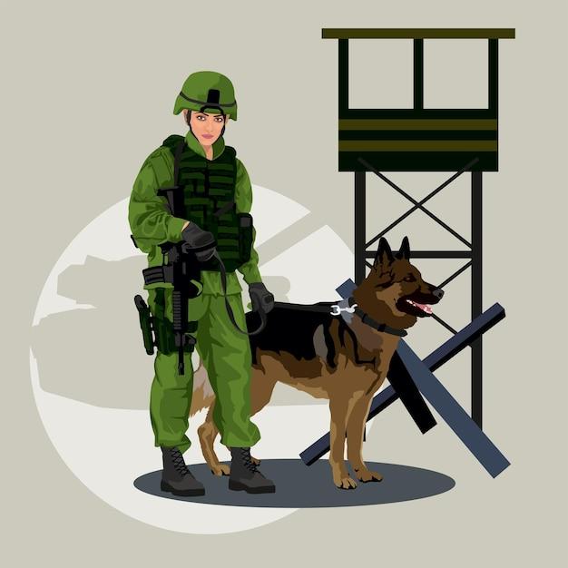 Mujer militar con un pastor alemán