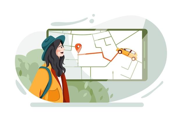 Mujer de mirada modelo rastreando el taxi llamado por una aplicación de teléfono móvil