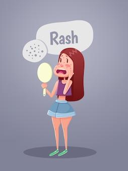 Mujer mirando en el espejo con manchas rojas en la cara. ilustración vectorial