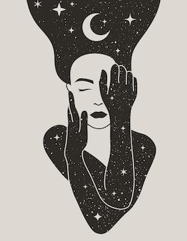 Mujer mística con la luna y las estrellas en el pelo en un estilo boho de moda. vector, espacio, retrato, de, un, niña